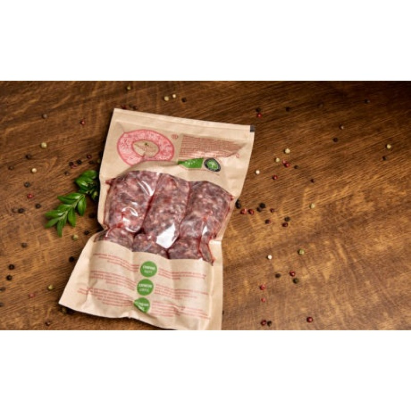 Органическая колбаска для гриля из мраморной говядины 0,300-0,400г