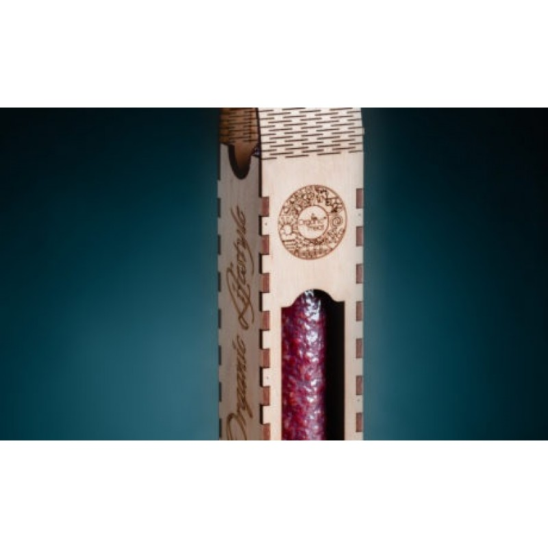 Колбаса салями Миланская сыровяленая органическая В\С 0,300-0,400г деревянная упаковка