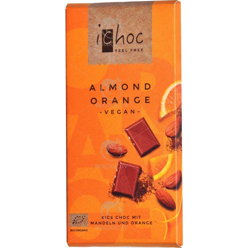"""Шоколад """"Mиндаль-апельсин"""" iChoc Almond Orange органический, 80 г"""