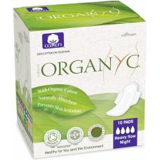 Прокладки для интенсивных выделений ночные органические с крылышками Organyc, 10 шт. в индивидуальной упаковке