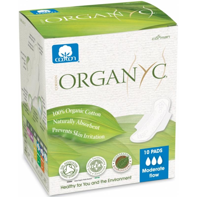Прокладки для умеренных выделений органические с крылышками Organyc, 10 шт. в индивидуальной упаковке