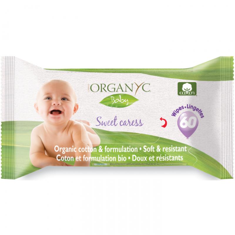 Влажные салфетки детские органические Organyc, 60 шт.