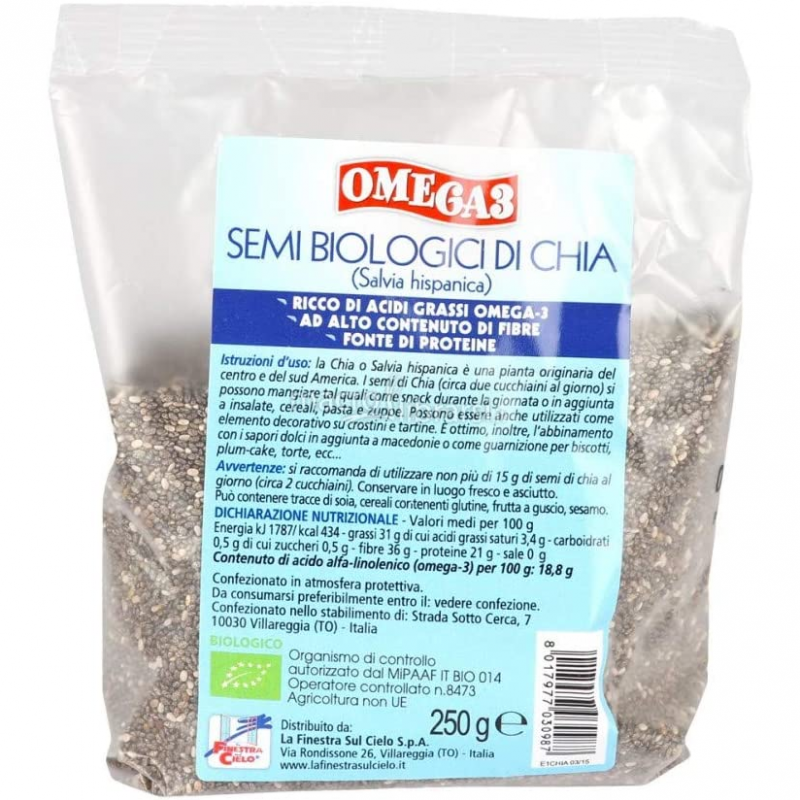 Семена чиа Omega-3 La Finestra Sul Cielo органические, 250 г
