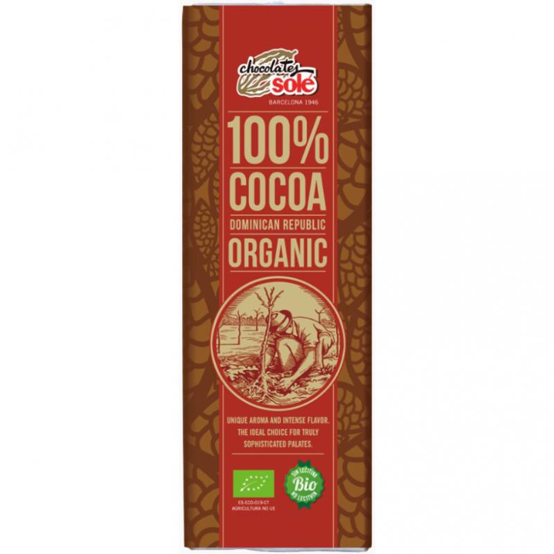 Шоколад чёрный 100% какао Chocolates Solé органический, 25 г