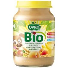 """Детское фруктовое пюре """"Персик, банан, злаки"""" OVKO стерилизованное органическое, 190 г"""