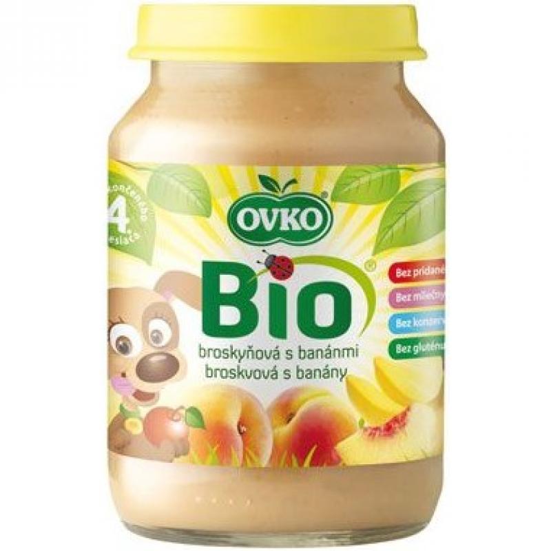 """Детское фруктовое пюре """"Персик-банан"""" OVKO стерилизованное органическое, 190 г"""