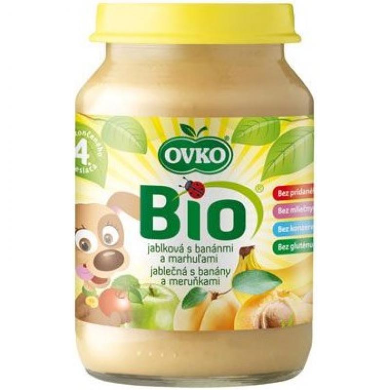 """Детское фруктовое пюре """"Яблоко, банан, абрикос"""" OVKO стерилизованное органическое, 190 г"""