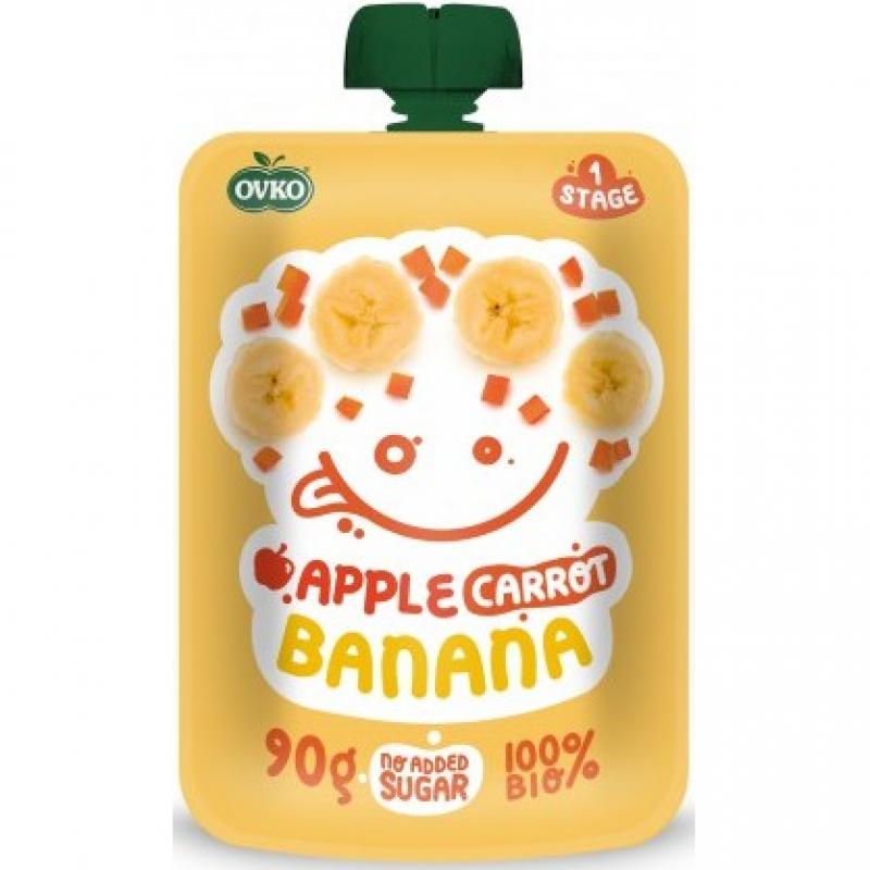 """Детское фруктово-овощное пюре """"Яблоко-морковь-банан"""" OVKO стерилизованное органическое, 90 г"""