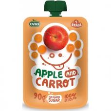 """Детское фруктово-овощное пюре """"Яблоко-морковь"""" OVKO стерилизованное органическое, 90 г"""