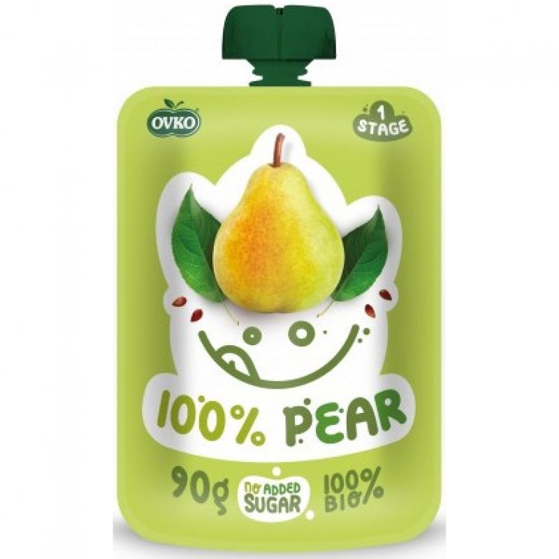 """Детское фруктовое пюре """"100% груша"""" OVKO стерилизованное органическое, 90 г"""