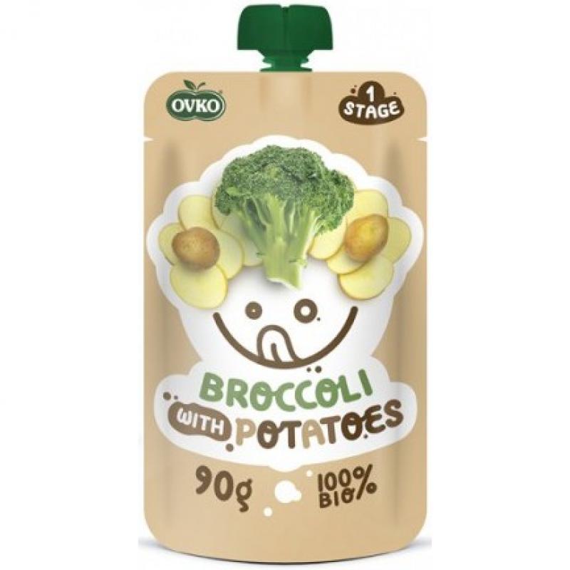 """Детское овощное пюре """"Брокколи с картофелем"""" OVKO стерилизованное органическое, 90 г"""