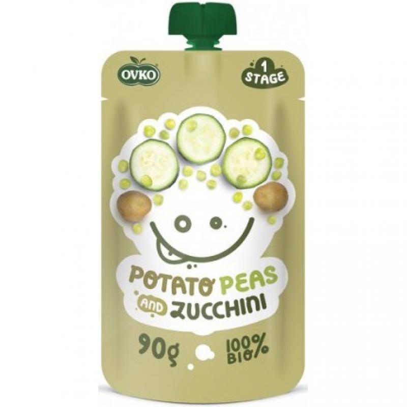 """Детское овощное пюре """"Картофель-горох-цуккини"""" OVKO стерилизованное органическое, 90 г"""