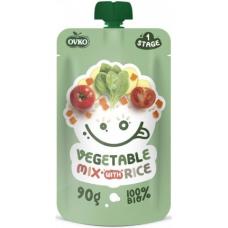 """Детское пюре """"Овощной микс с рисом"""" OVKO стерилизованное органическое, 90 г"""