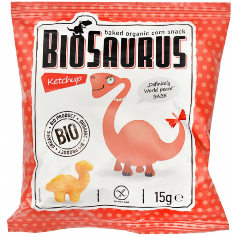 Кукурузные снеки с кетчупом органические Biosaurus, 15 г