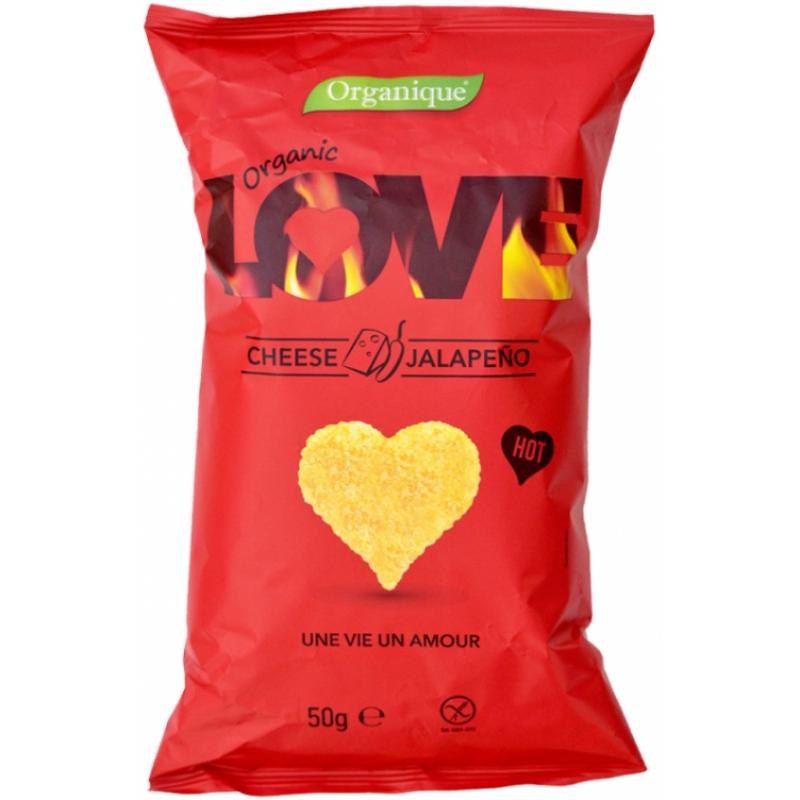 Кукурузные снеки с сыром и перцем халапеньо органические LOVE, 50 г