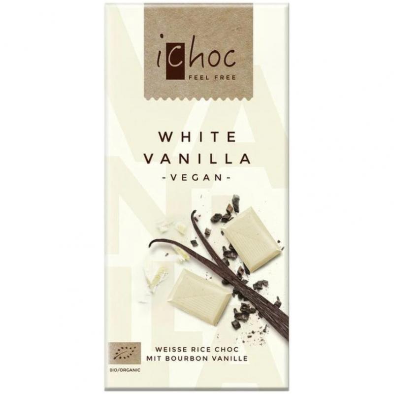 Шоколад белый iChoc White Vanilla с бурбонской ванилью органический, 80 г