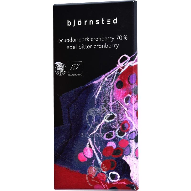 Шоколад чёрный (70%) с клюквой Björnsted органический, 100 г