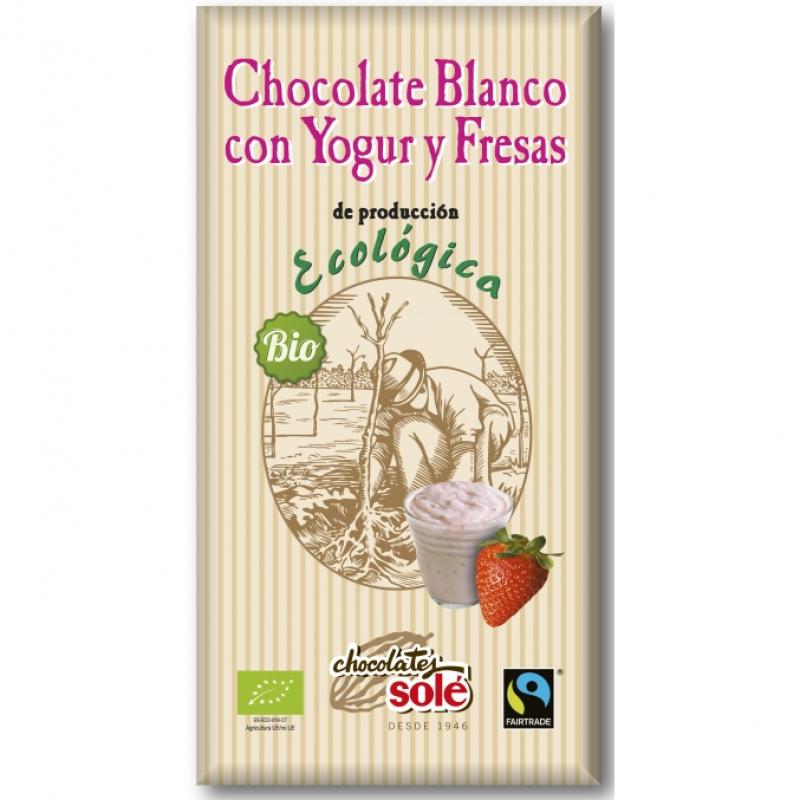 Шоколад белый с клубникой и йогуртом Chocolates Solé органический, 100 г