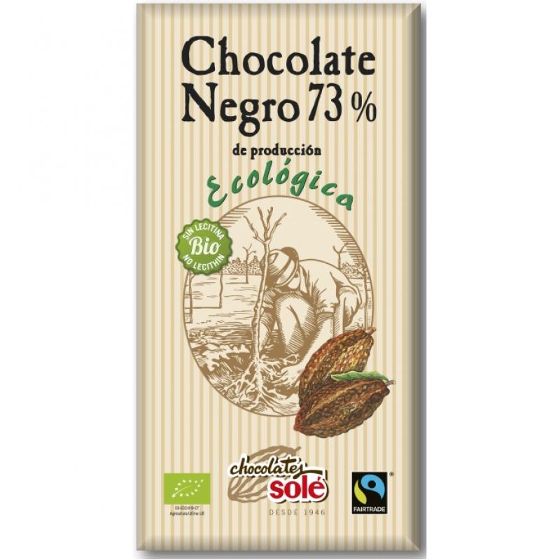 Шоколад чёрный 73% какао Chocolates Solé органический, 100 г