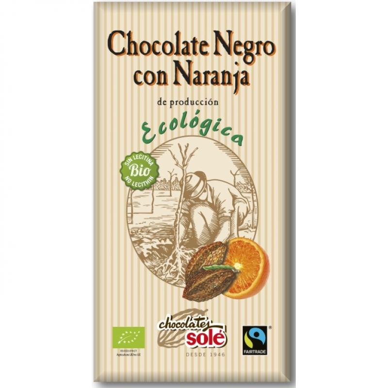 Шоколад чёрный с апельсином Chocolates Solé органический, 100 г
