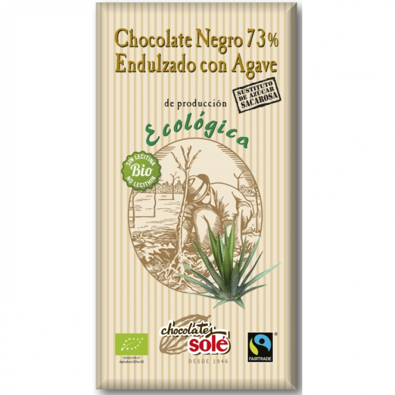 Шоколад чёрный 73% с агавой Chocolates Solé органический, 100 г