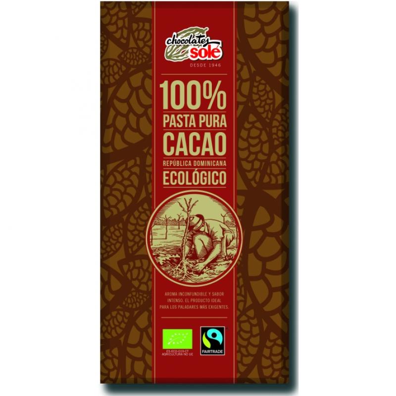 Шоколад чёрный 100% какао Chocolates Solé органический, 100 г