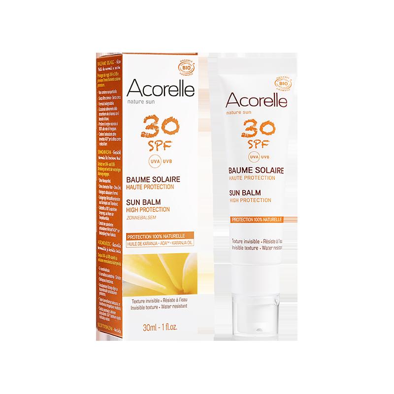 Солнцезащитный бальзам для лица Acorelle SPF 30 органический, 30 мл