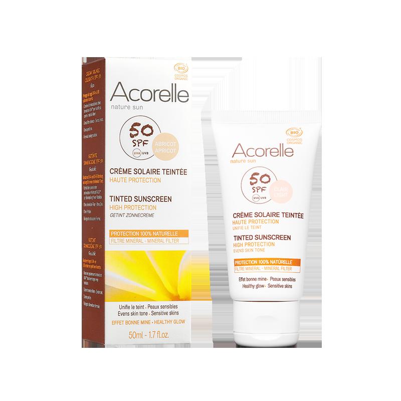 Солнцезащитный крем для лица SPF 50 Acorelle с тонирующим эффектом (Абрикос) органический, 50 мл