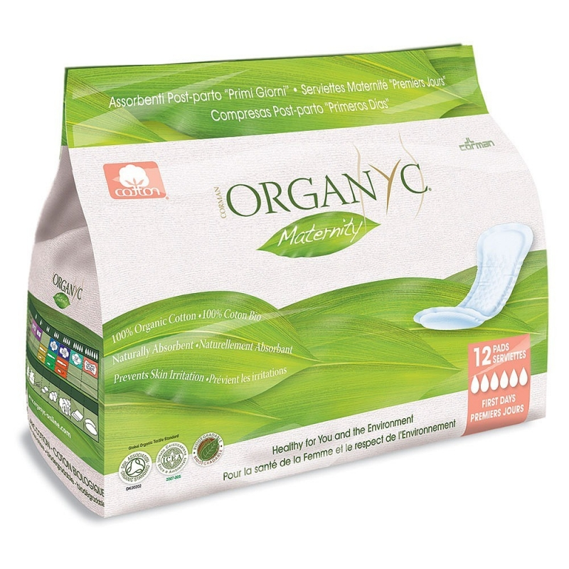 Прокладки послеродовые органические Organyc, 12 шт. в индивидуальной упаковке