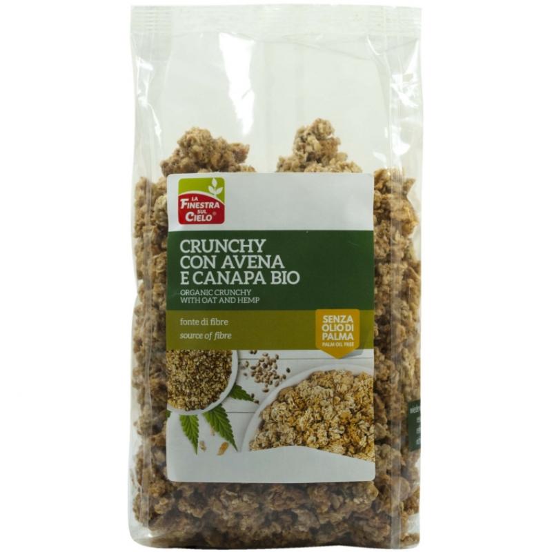 Кранчи с овсяными хлопьями и семенами конопли La Finestra Sul Cielo органические, 375 г