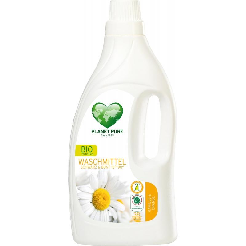 """Жидкость для стирки черных и цветных тканей """"Ромашка и апельсин"""" Planet Pure органическая, 1,55 л"""