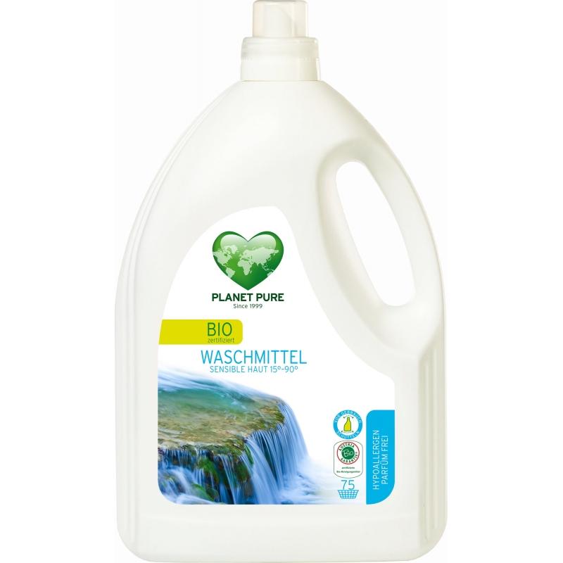 Жидкость для стирки гипоаллергенная для чувствительной кожи Planet Pure органическая, 3 л