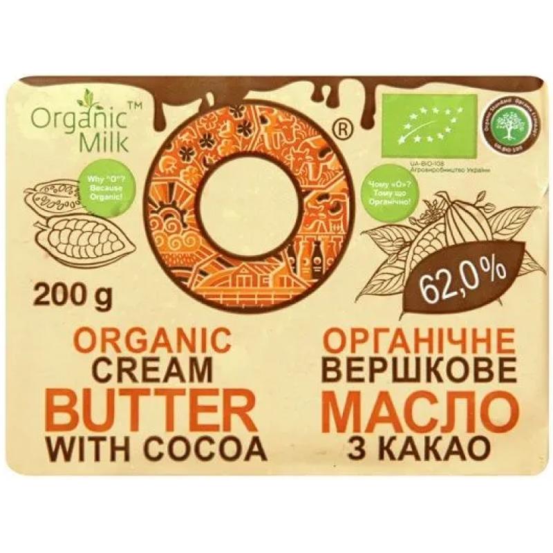 Масло сливочное с какао Organic Milk органическое жирн. 62,5%, 200 г
