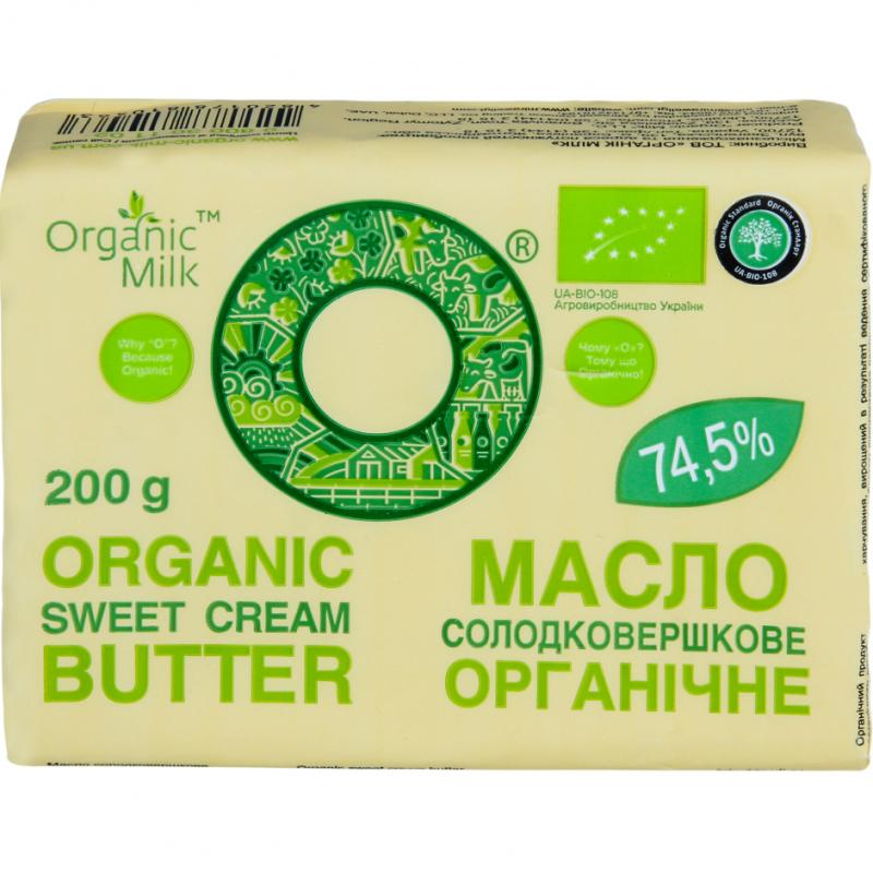Масло сладкосливочное Organic Milk органическое жирн. 74,5%, 200 г