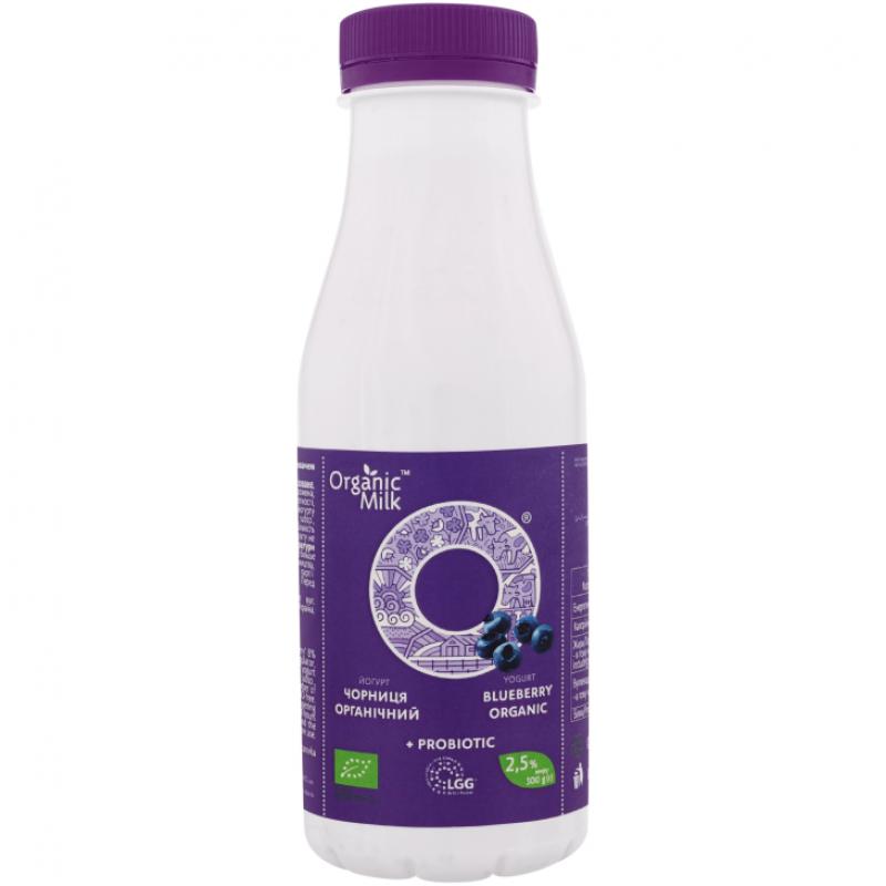 """Йогурт питьевой """"черника"""" жирн. 2,5% Organic Milk органический, 300 г (с пробиотиком)"""